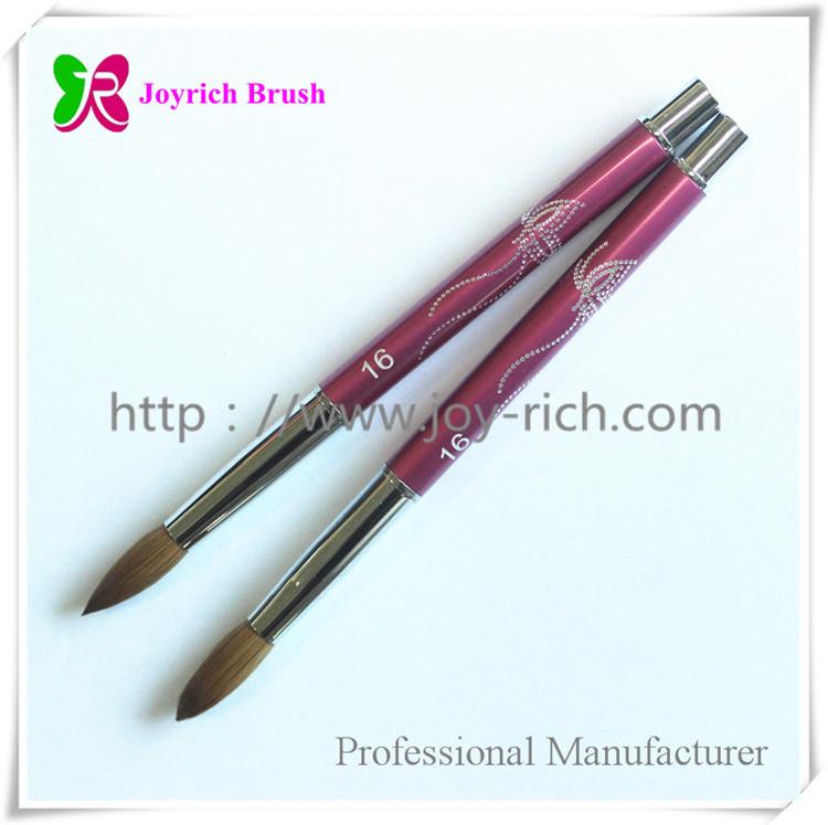 JRA19--Pink metal handle kolinsky hair acrylic nail brush-Shenzhen ...
