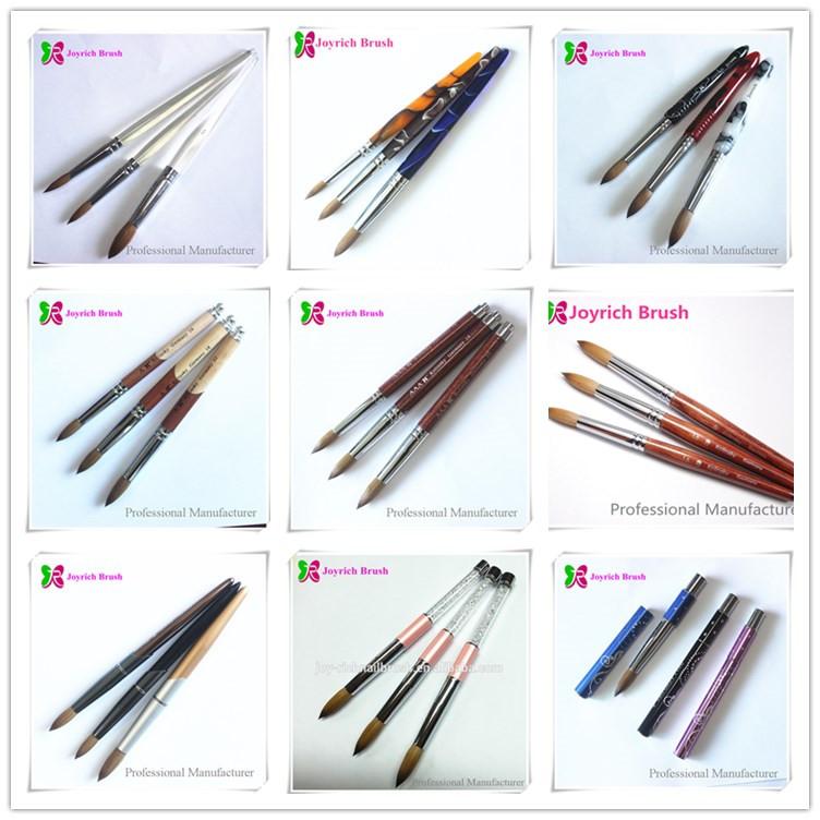 JRA4-Special shape design wooden handle acrylic kolinsky nail brush ...